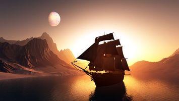 Бесплатные фото море,корабль,мачты,паруса,горы,небо,планета