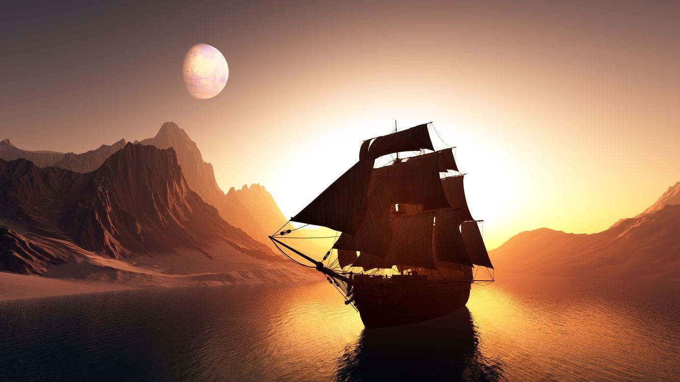 Фото бесплатно планеты, мачты, море - на рабочий стол