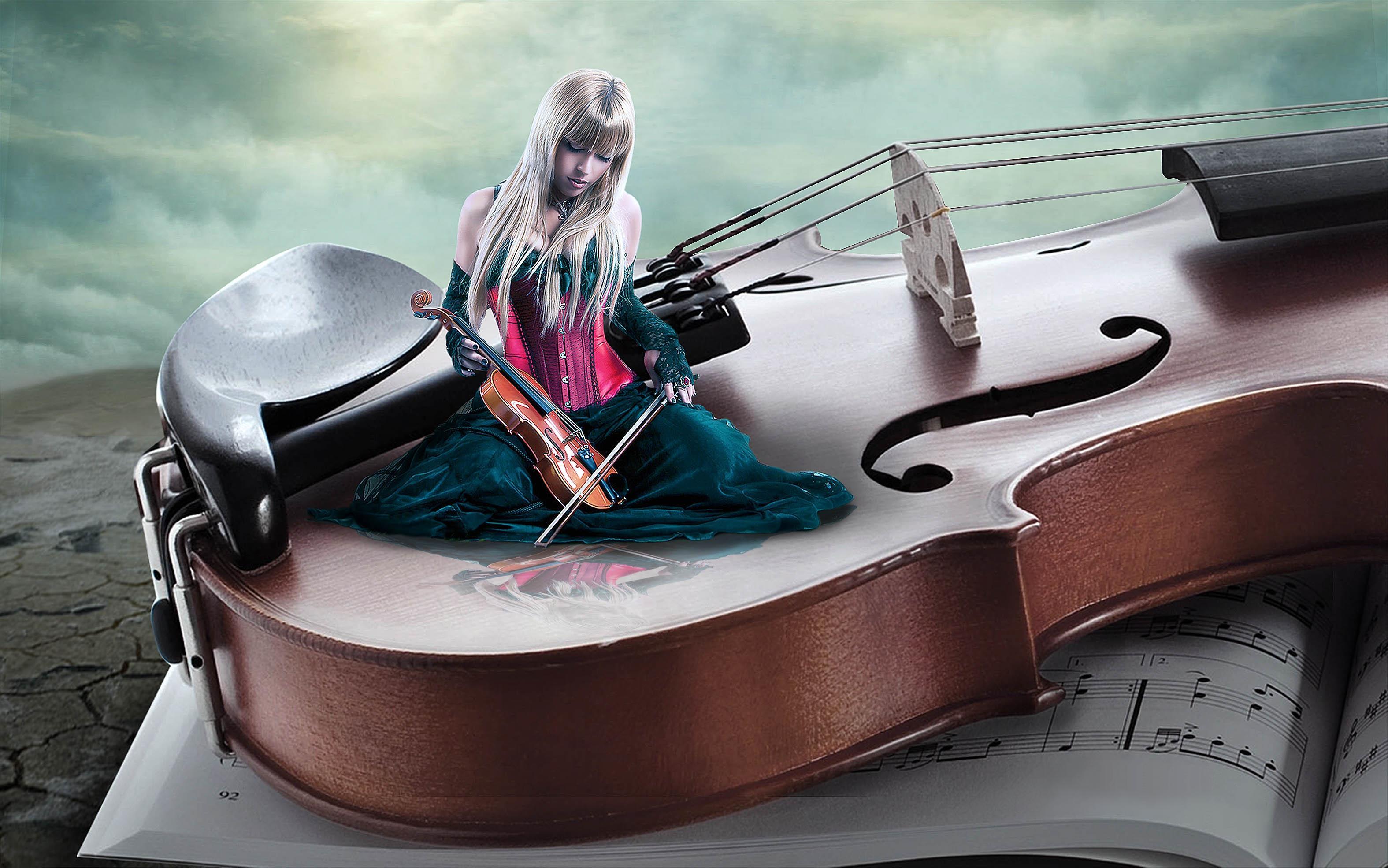скрипка, девушка скрипачка, art