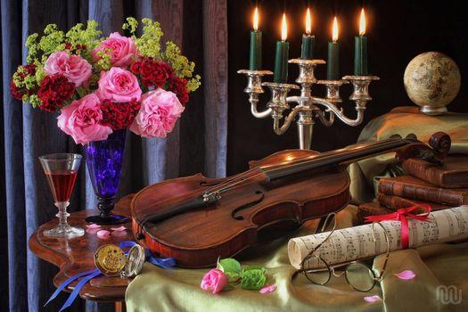Photo free violin, roses, flowers
