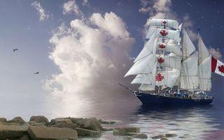 Бесплатные фото берег,камни,море,корабль,мачты,паруса,флаг Канады