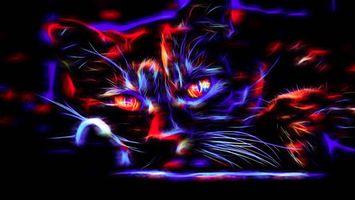 Бесплатные фото кот,кошка,взгляд,3d,art