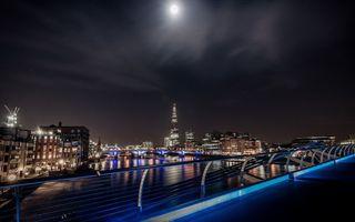 Бесплатные фото ночь, крыша, ограждение, река, мост, дома, здания