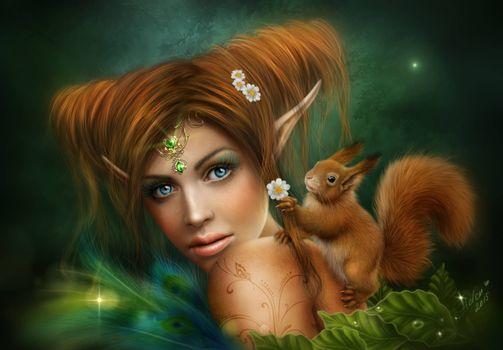 Photo free girl, squirrel, art