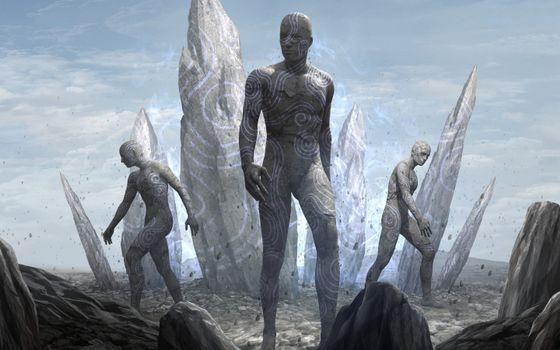 Фото бесплатно киборги, камни, пришельцы