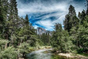 Бесплатные фото Йосемитский национальный парк, Yosemite National Park, Калифорния, США, река, лес, горы