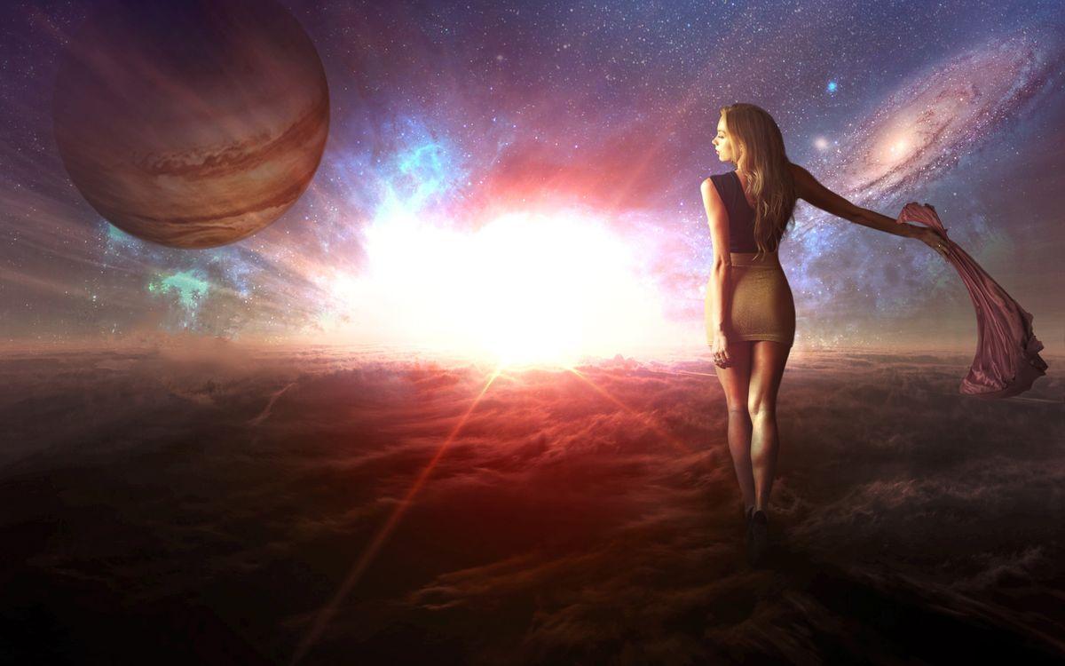 Фото бесплатно космос, планеты, девушка - на рабочий стол