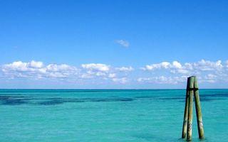 Фото бесплатно море, сваи, бревна, горизонт, небо, облака