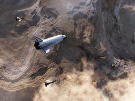 Бесплатные фото шаттл,истребители,сопровождение,полет,земля,облака