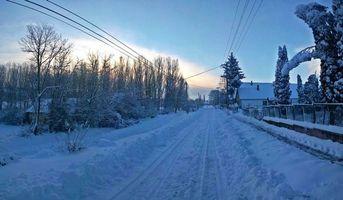 Бесплатные фото зима,закат,дорога,дома,деревья,пейзаж