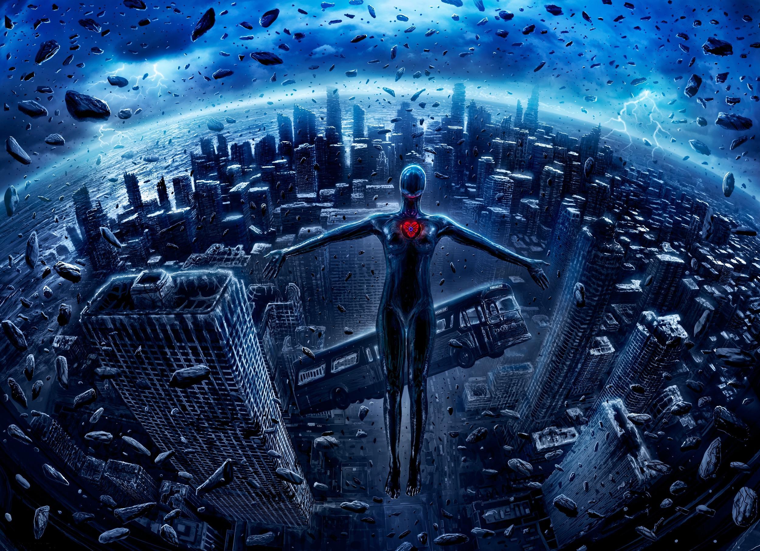 Обои апокалипсис, город, метеориты, гуманоид