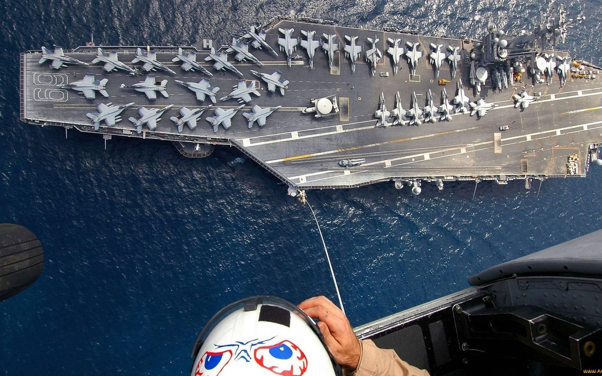 Обои море, авианосец, палуба, самолеты