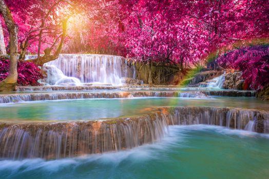 Бесплатные фото водопад,каскад,деревья,осень,Лаос,пейзаж