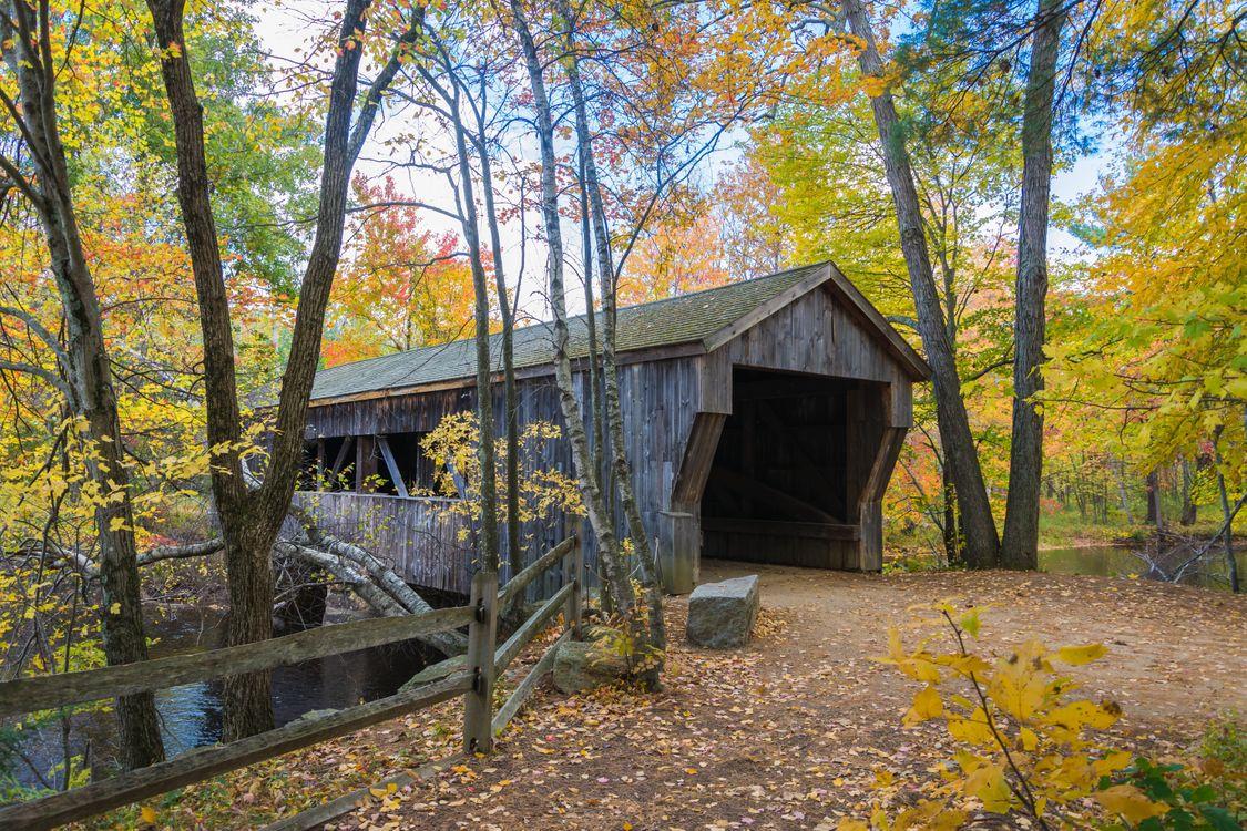 Фото бесплатно Covered Bridge, Массачусет, осень - на рабочий стол
