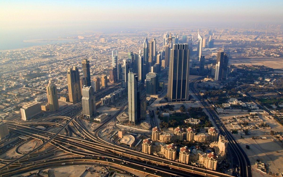 Фото бесплатно дома, небоскребы, здания, улицы, дороги, развязки, вид сверху - на рабочий стол