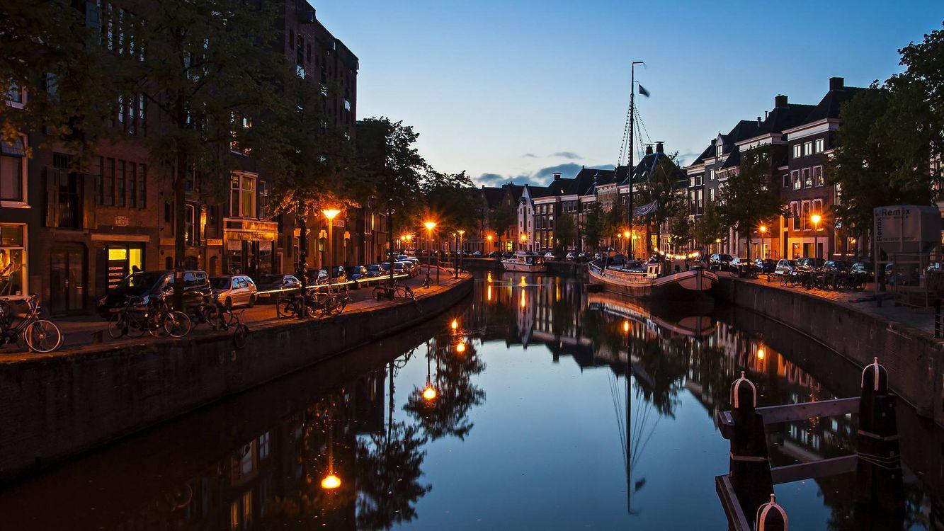 Фото бесплатно Groningen, Гронинген, Нидерланды, ночь, огни, город