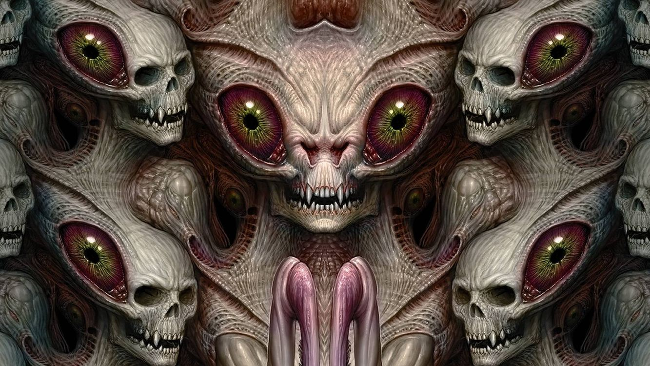 Фото бесплатно монстр, черепа, 3d, art, фантастика - скачать на рабочий стол