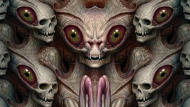 Заставки монстр, черепа, 3d