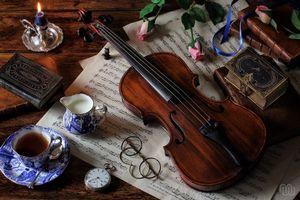 Бесплатные фото скрипка,ноты,книги,очки,цветы,розы,чай