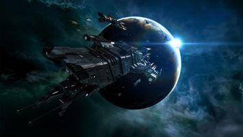 Бесплатные фото космический корабль, полет, космос, планета, солнце
