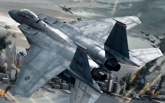 Бесплатные фото самолеты,истребители,война,бой,город,дым