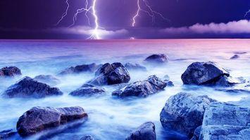 Бесплатные фото океан, берег, валуны, волны, гроза, молнии
