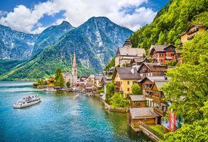 Заставки Hallstatt, Austria, Хальштатт, Гальштадт, Австрия, озеро, горы, дома, город, пейзаж