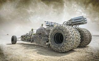 Бесплатные фото Mad Max - Fury Road,боевая машина,скелет машины,турбина,пустошь