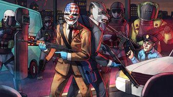 Бесплатные фото Payday 2,ограбление,перестрелка,копы,оружие,инкассатор