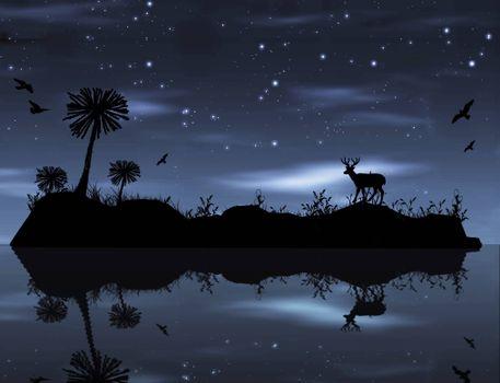 Заставки ночь, остров, звёзды