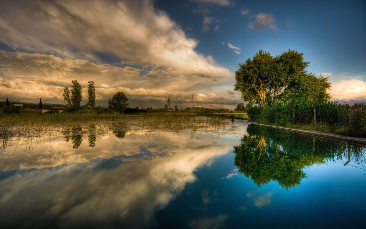Фото бесплатно река, гладь, отражение, деревья, небо, облака, природа