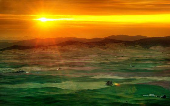 Photo free Beautiful sunset, green field, houses