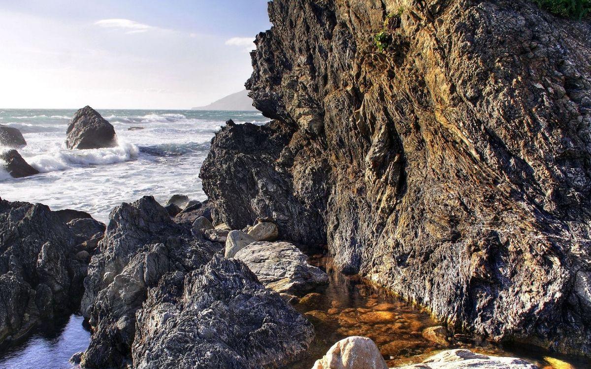 Фото бесплатно побережье, скалы, камни, море, волны, небо, природа