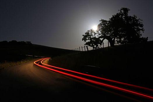 Фото бесплатно загородная дорога, ночь, ограждение, забор, деревья, небо, луна