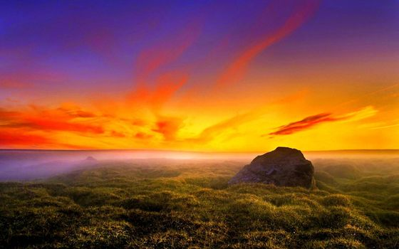 Photo free colorful sunset, bright orange sky, field