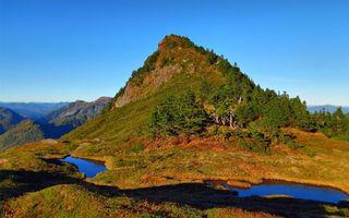 Бесплатные фото горы,трава,деревья,озера,небо