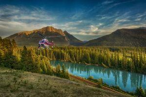 Бесплатные фото Bow River,Canada,горы,река,железная,дорога,вертолёт