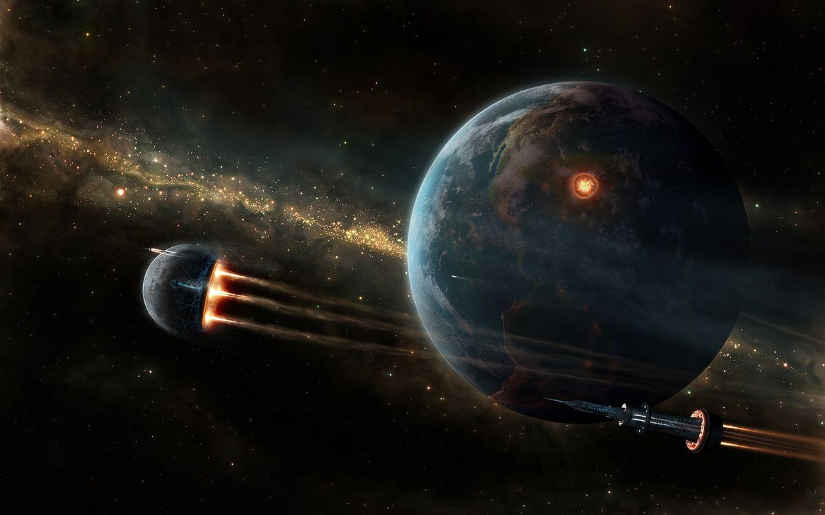 Обои космос, планета, космические корабли картинки на телефон