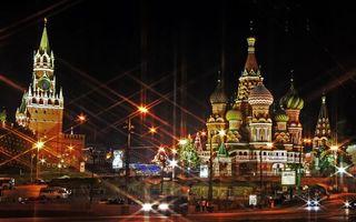 Бесплатные фото ночь,Москва,спасская башня,храм Василия Блаженного,фонари,огни,дорога