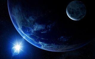 Бесплатные фото планета,солнце,звезды,свечение,невесомость,вакуум