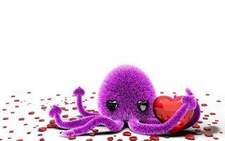 Бесплатные фото игрушка,осьминог,фиолетовый,сердечки,красные,фон белый