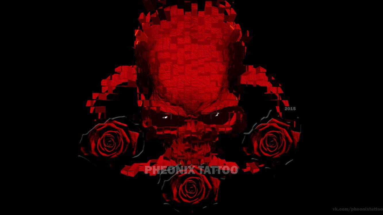 Фото бесплатно череп, красный, розы - на рабочий стол
