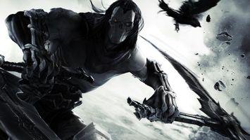 Бесплатные фото Дарксайдерс, смерть, доспехи, маска, оружие, ворон