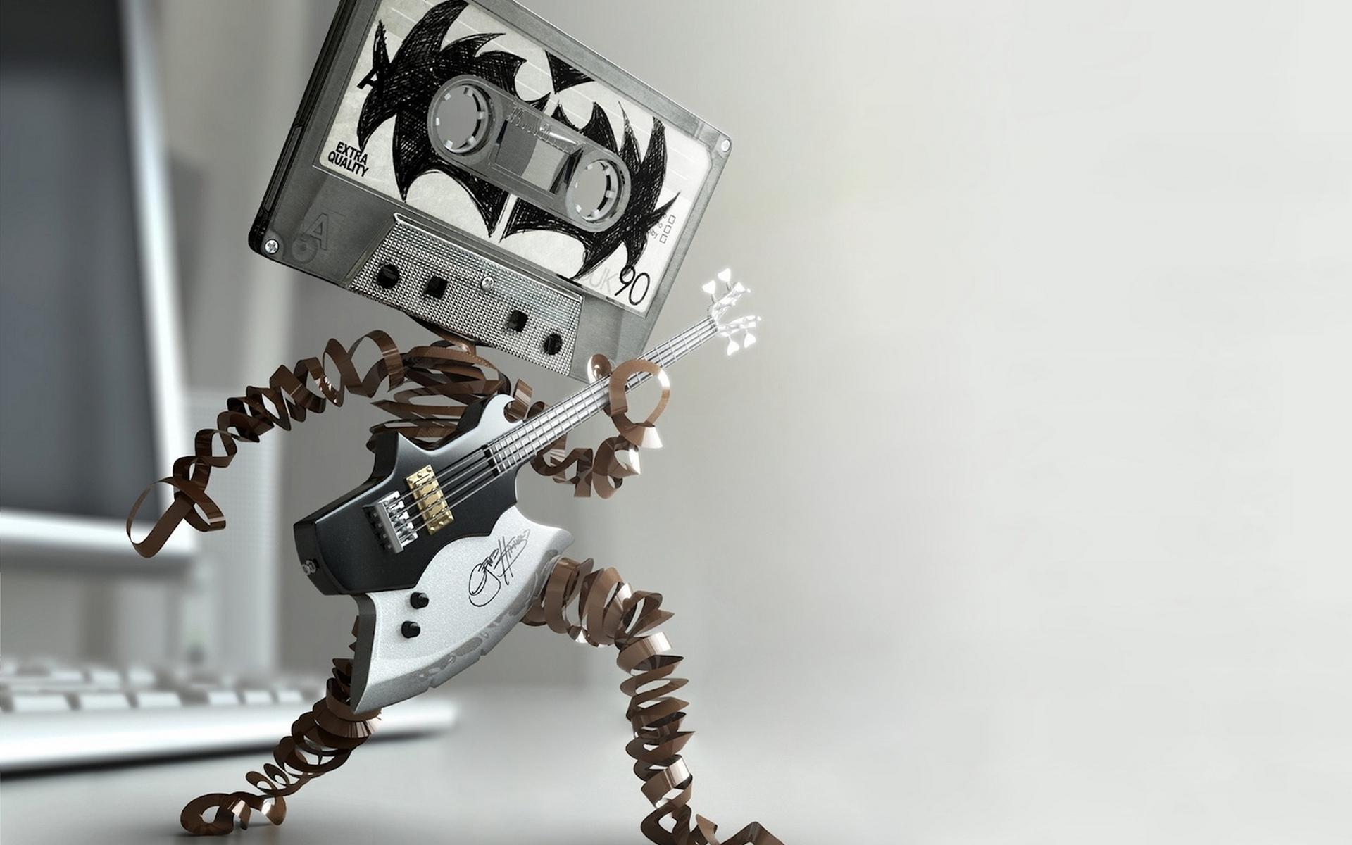 Обои кассета, гитара, пленка, человек