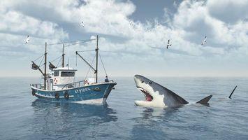 Фото бесплатно акула, арт, опасность