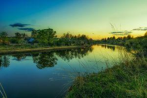 Бесплатные фото закат, река, деревья, дома, пейзаж