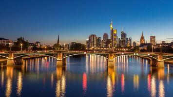 Бесплатные фото Франкфурт,Германия,город,ночь,огни