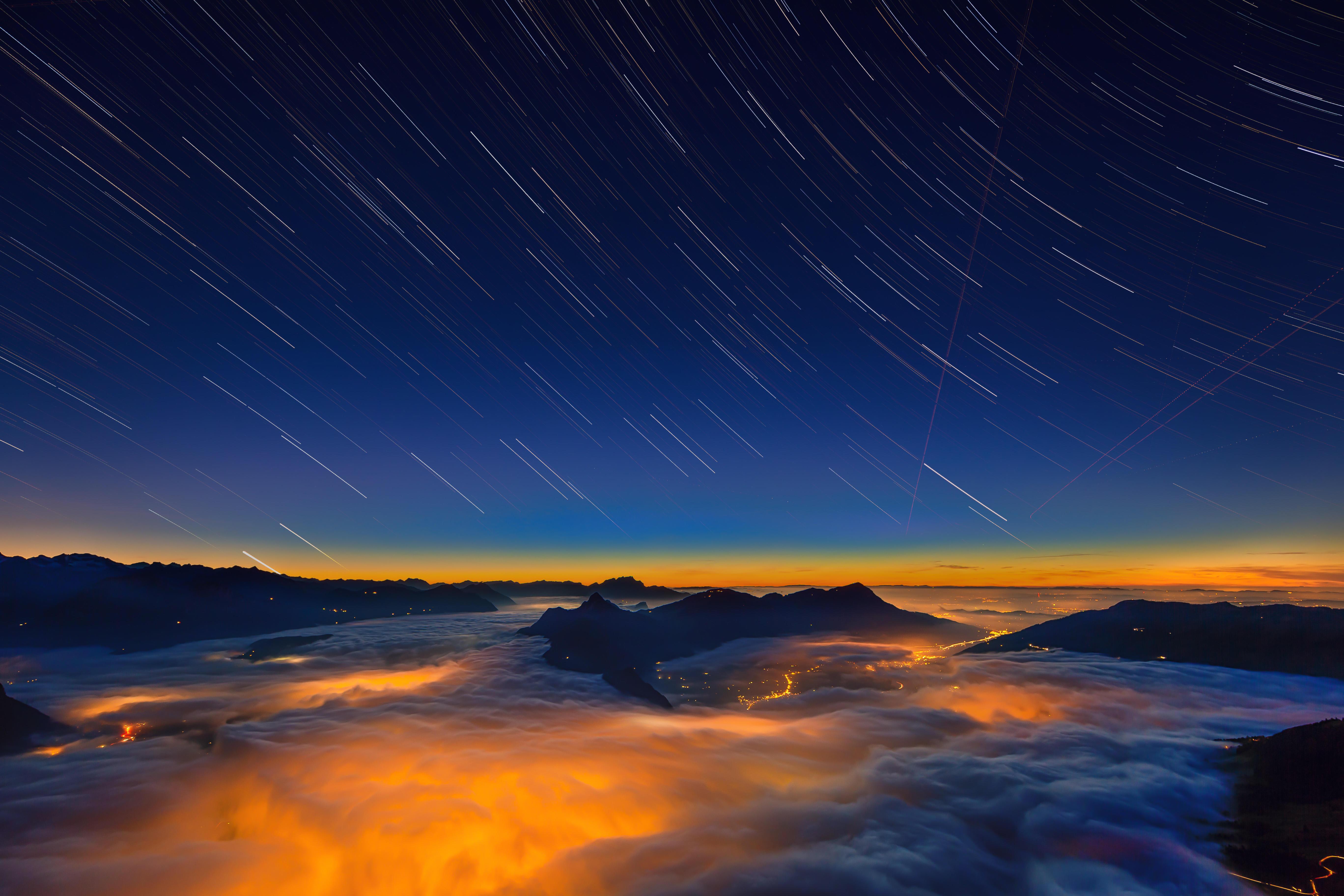 обои Море тумана, Восход, Панорама, Швейцария картинки фото