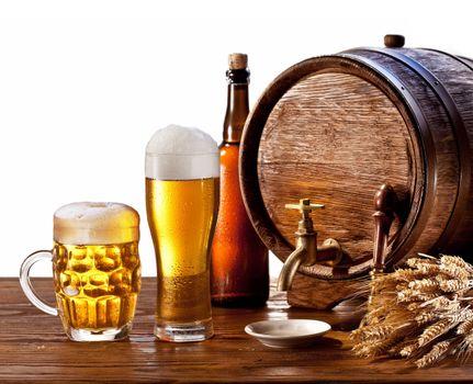 Photo free beer, barrel, mug