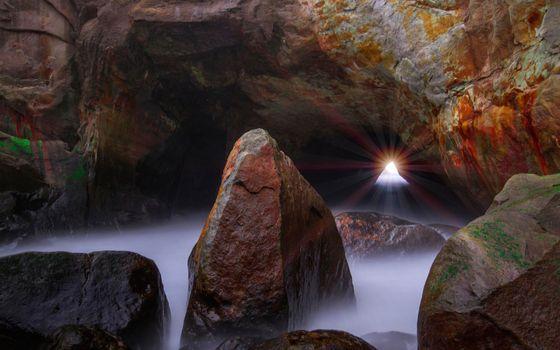Фото бесплатно гора, разлом, лучи солнца